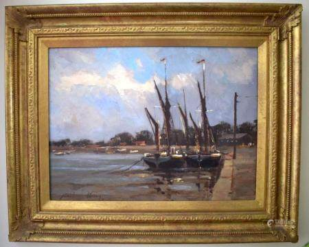 Robert King (Born 1936) Oil on board, Barges by the coast. 38 cm x 28 cm.