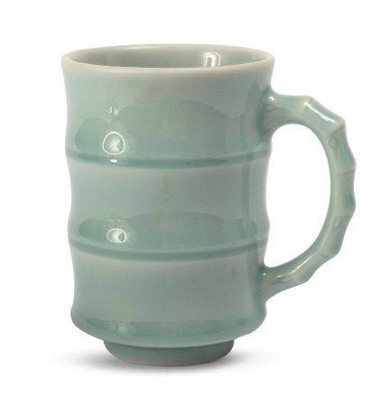 曉芳窯 豆青竹節杯