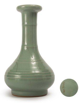 曉芳窯 汝窯粉青弦紋瓶
