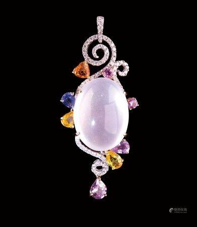 珠寶 天然緬甸玻璃種水沫玉配鋼玉及鑽石掛墜項鏈