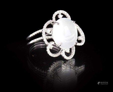 珠寶 天然緬甸翡翠蛋面鑽石戒