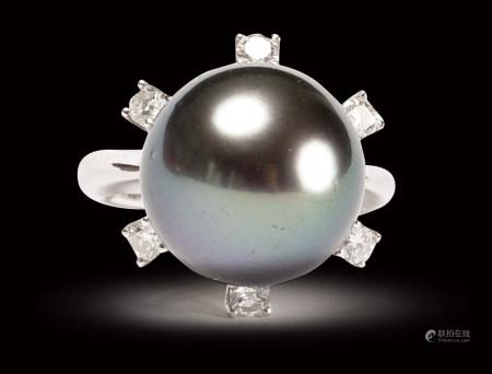 珠寶 天然大溪地黑珍珠鑽戒