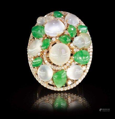 珠寶 天然緬甸翡翠玻璃種配鑽石掛墜