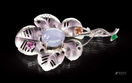 珠寶 天然緬甸星光藍寶石胸針