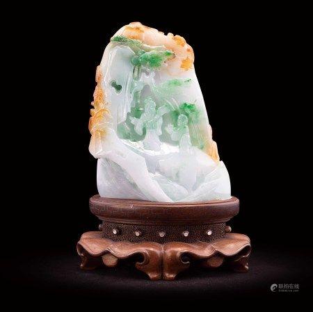 珠寶 天然緬甸翡翠三彩人物山水賞件