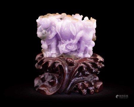 珠寶 天然緬甸翡翠冰紫蘿蘭三彩招財童子賞件