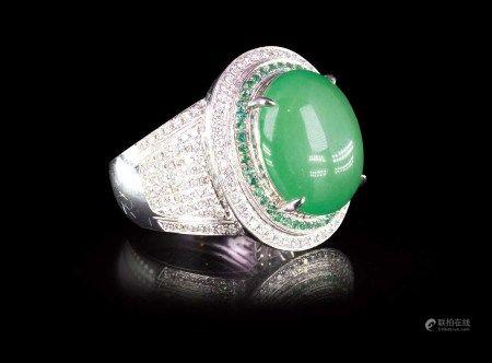 珠寶 天然緬甸高冰陽綠翡翠鑽石蛋面鑽戒