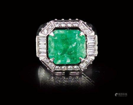 珠寶 10.03克拉天然哥倫比亞祖母綠鑽戒