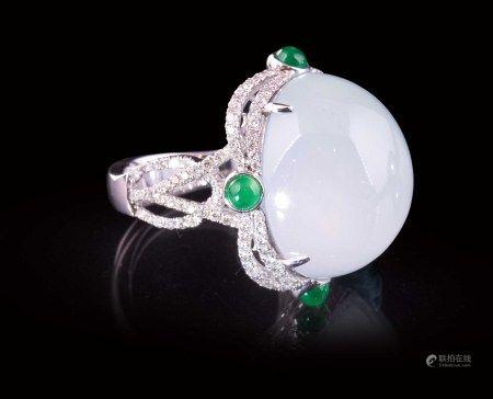 珠寶 天然緬甸木拿高冰種翡翠鑽戒