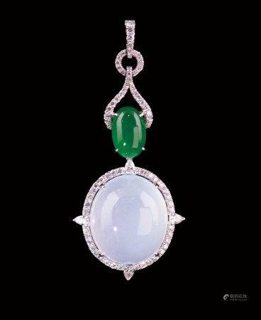 珠寶 天然緬甸木拿高冰種翡翠大蛋面鑽墜鑲配天然緬甸老坑冰綠翡翠