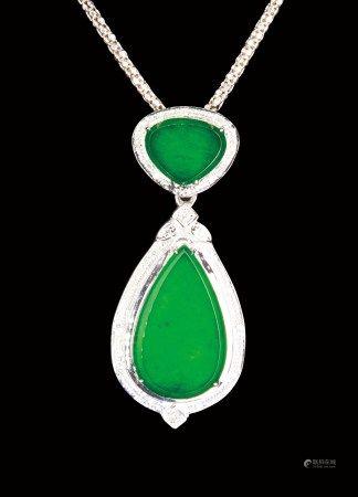 珠寶 天然緬甸冰種帝王綠翡翠鑽石掛墜