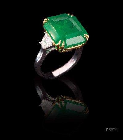 珠寶 14.21克拉頂級艷綠VIVID GREEN 哥倫比亞祖母綠鑽戒