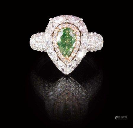 珠寶 天然 1.01 克拉GIA綠彩鑽戒