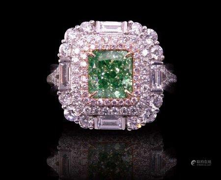 珠寶 天然 2.23 克拉GIA綠彩鑽戒
