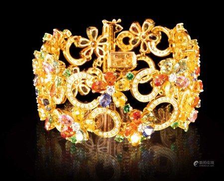 珠寶 天然彩色藍寶石 43.45 克拉配天然沙佛萊石 2.28 克拉配天然鑽石 4.34 克拉手鏈