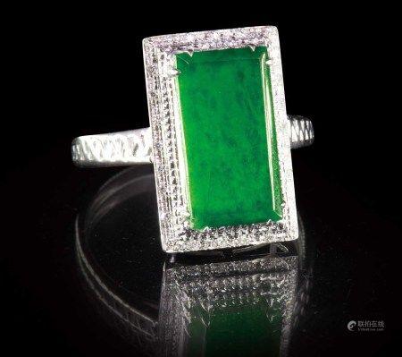 珠寶 天然緬甸冰種帝王綠翡翠鑽戒