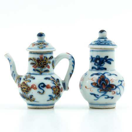 A Miniature Cruet and Vase with Cover