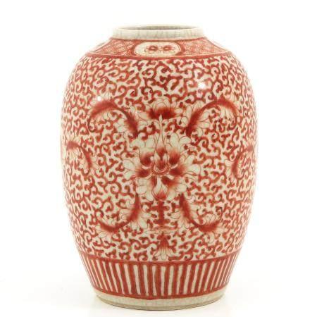 A Red Floral Decor Vase