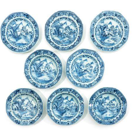 A Series of 8 Blue and White Plates