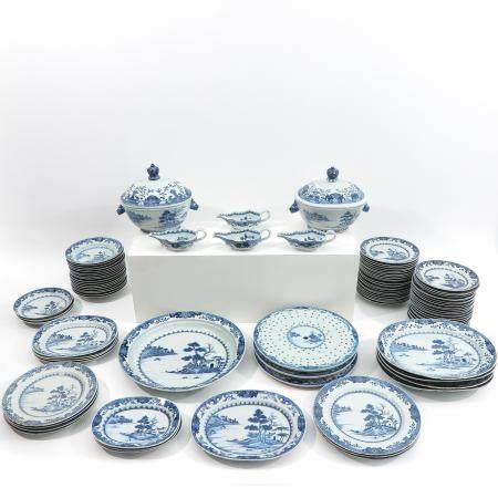 A 98 Piece Set Blue and White Service
