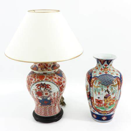 An Imari Vase and Lamp