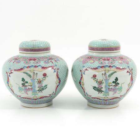 A Pair of Famille Rose Ginger Jars