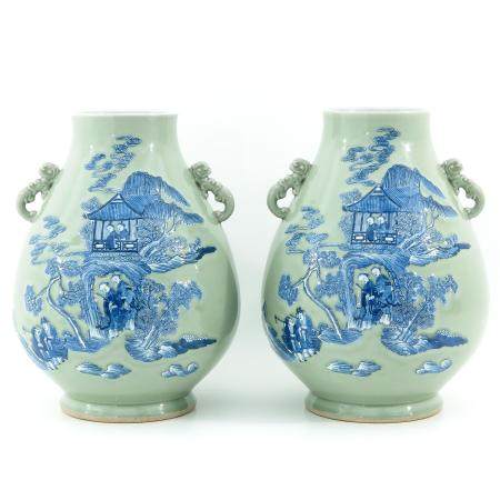 A Pair of Celadon and Blue Hu Vases