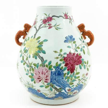 A Famille Rose Hu Vase