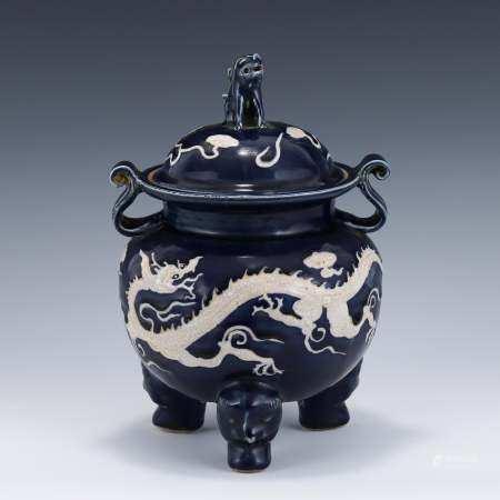 Yuan Dynasty YUAN REVERSED BLUE DRAGON LIDDED PORCELAIN TRIPOD CENSER