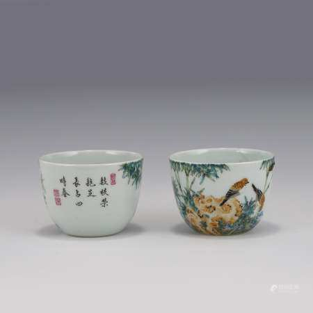 Qing Dynasty PAIR FAMILLE ROSE BIRDS PORCELAIN CUPS