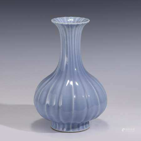 Qing Dynasty SKY BLUE GLAZED RIBBED BODY BOTTLE VASE