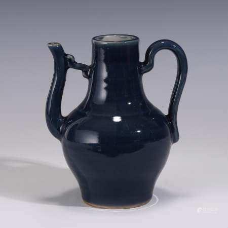 Qing Dynasty BLUE MONOCHROME GLAZED PORCELAIN EWER