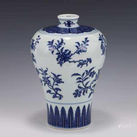 Qing Dynasty BLUE & WHITE FRUIT & FLORAL ABUNDANT MEIPING JAR