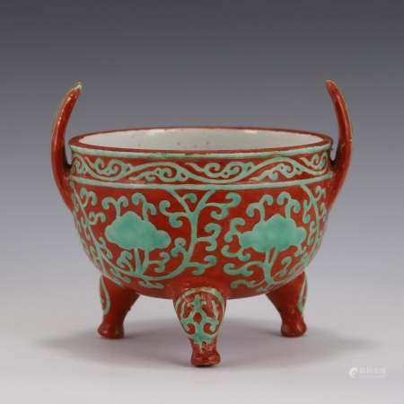 Ming Dynasty TURQUOISE GREEN & RED GLAZED TRIPOD CENSER