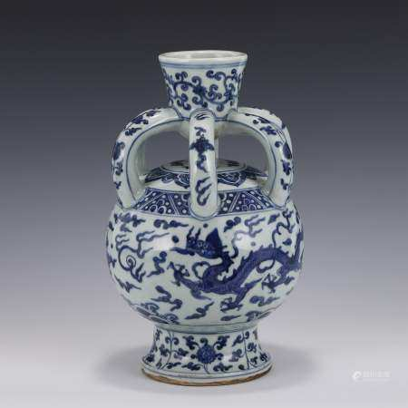 Ming Dynasty BLUE AND WHITE SIX HANDLES ZUN VASE