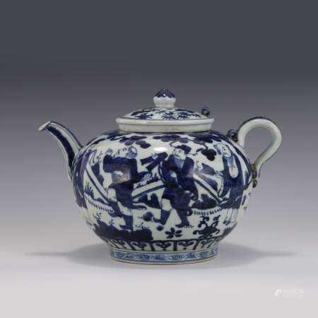 Ming Dynasty WANLI BLUE & WHITE FIGURINE MOTIF PORCELAIN LIDDED TEA POT