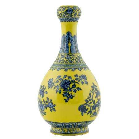 Qing Dynasty YONGZHENG FAMILLE JAUNE FRUIT ABUNDANT PEAR VASE