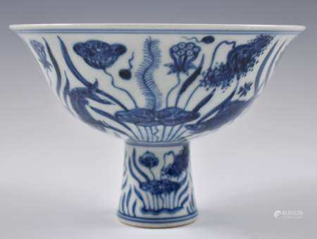 Ming Dynasty XUANDE BLUE & WHITE LOTUS HIGH BOWL