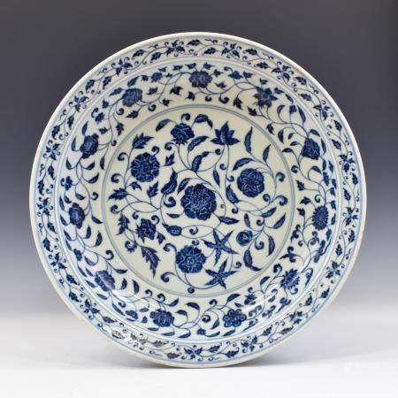 Yuan Dynasty MING YONGLE BLUE AND WHITE WRAPPED FLORAL PLATE