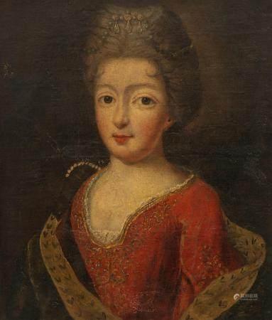 The portrait of a noble lady, 18thC, 32 x 39 cm