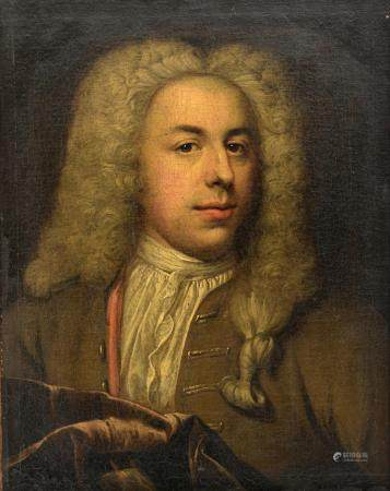 The portrait of a nobleman wearing a wig, early 18thC, 44 x 56 cm