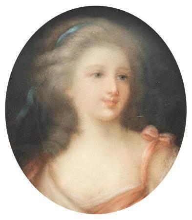 Gravier, the medallion portrait of Mademoiselle de Lambese, 16 x 20 cm