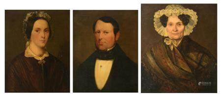 Three 19thC family portraits, 50,5 x 63,5 - 56,5 - 66,5 cm