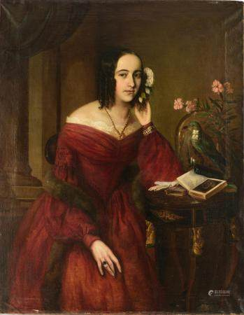 A fine portrait of a young noblewoman, mid-19thC, 91 x 116 cm