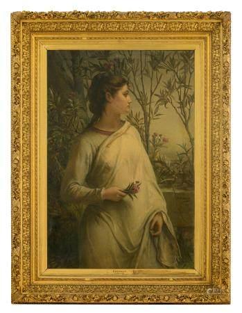 Jan Frans Portaels (1818-1895), 'Crépuscule', in an imposing frame, 84,5 x 123 - 122 - 161 cm