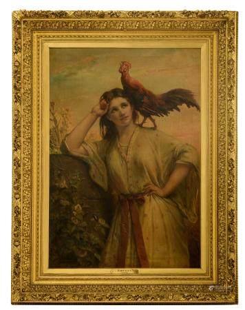 Jan Frans Portaels (1818-1895), 'Aurore', in an imposing frame, 86 x 125 - 122 - 161 cm