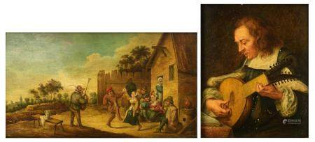 Two works in the manner of 17thC masters of the Low Countries, 16 x 19,5 - 17 x 29,5 cm