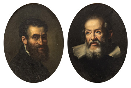 A pair of oval pendant portraits of Michelangelo and Galileo, 21 x 26 cm