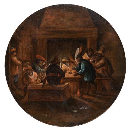 Monkeys in the inn, in the manner of Ferdinand Van Kessel (1648 - c. 1696), ø 26 cm