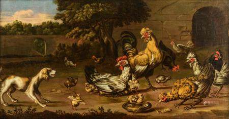 Attributed to Melchior d'Hondecoeter, 44 x 82 cm